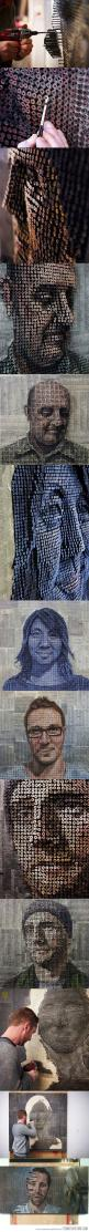 <3 3D portraits made from screws, by Andrew Myers. Hardware and art are a marriage made in heaven for me! Love the combo.: Sculpture, Amazing Art, 3D Art, Andrew Myers, 3D Portraits, Amazing 3D, Nail Art, Andrewmyers