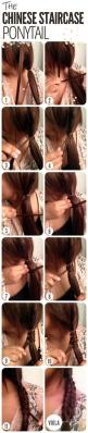 The Chinese Staircase Ponytail. When my hair gets long again: Hair Ideas, Hairstyles, Hair Tutorials, Staircase Braid, Staircases, Hair Styles, Hairdos, Staircase Ponytail