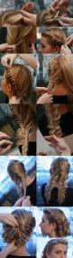 This actually very easy all you do is do a fish tail braid on both sides like pigtails then you take some of the hair off of two braids to make it kind of lose and formal an then you twirl it up the way you want and then pin it up with bobby pins.: Fish T