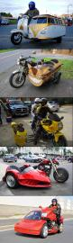 Well now that's different! These are some of the most customized sidecars that I have ever seen. Hope their insurance covers this much modification, you know... just in case.: Motorcycle Sidecars I, Motorcycle Trikes, Sidecar Motorcycle, Trikes Motorc