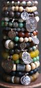 Gorgeous gemstone bracelets with cool vintage looking coin charms!: Gorgeous Gemstone, Boho Beaded Bracelets, Bracelet Charms, Charm Bracelets, Bohemian Bracelets, Stackable Bracelets, Gemstone Bracelets, Boho Bracelets
