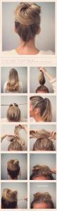 this website is seriosuly amazing! so many hair ideas for medium/long hair.: Hair Ideas, Loose Tops, Messy Bun, Hairstyles, Loose Bun, Hair Styles, Hair Tutorial, Top Bun, Microbraid