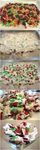 Fun sweet candy bar to make. This image is christmas colors... I can do it in rock star colors and cut up for girls to snack on.: Christmas Cookie Bar, Easy Christmas Cookie, Christmas Bake, Fun Christmas Cookie, Christmas Dessert Bar, Neighborhood Christ