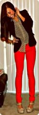 """""""What humbugs we are, who pretend to live for Beauty, and never see the Dawn!""""Bless You Here is a Nice Quote I thought you may enjoy.: Polka Dots, Red Skinny, Red Jeans, Style, Outfit, Polka Dot Blouse, Red Pants, Black Blazers"""