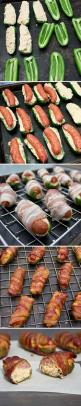 Sausage & Cheese Stuffed Bacon Wrapped Jalapeño Poppers