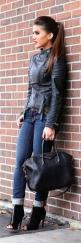 Black Leather And Jeans. Very Confident and Stylish Combination: Black Leather Jackets, Fashion, Street Style, Fall Outfits, Styles, Fall Fashion, Fall Winter
