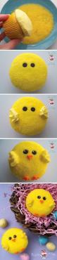 Cool ~ So simple, yet so effective! We'll certainly be making these fab Easter chick cupcakes from Bird on a Cake! ~ Enjoy!: Easter Idea, Sweet, Easter Chick, Chick Cupcakes, Cup Cake, Easter Cupcakes, Easter Food, Cupcake Idea, Easter Dessert