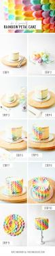 How wonderful to find a step-by-step guide to icing a cake so beautifully!: Cake Tutorial, Rainbow Cake, Rainbow Petal Cake, Cakes, Birthday Cake, Cake Decorating, Dessert