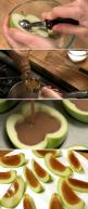 Inside Out Caramel Apples Slices maybe add some nuts before it hardens or drizzle chocolate when sliced up: Apple Recipe, Caramel Apple Slices, Food Ideas, Yummy Food, Carmel Apples, Food Drink, Caramel Apples