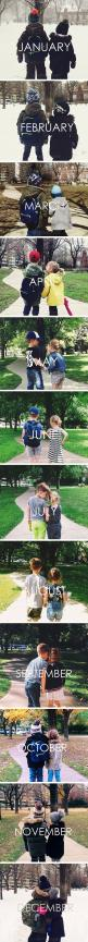 Take a picture in the same spot every month and then make a calendar out of it! Has to be one of the cutest things I've ever seen!: Brother And Sister Photo, Cute Couple, Cutest Couple, Photo On, Family Photo, Christmas Couple Photo, Brothers Christma
