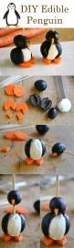DIY Edible penguin. I don't know what they used for the white middle, but I bet a hard boiled egg would work well. :): Diy Penguin, Diy Edible Penguin Jpg, Diy'S, Edible Penguins, Diy Foods, Olive Penguin, Loves Penguins, Food Art, Foodart