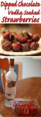 Soak Strawberries in Chocolate Flavored Vodka for 24 hours, then dip in melted chocolate. Let cool and serve.