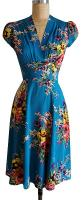 40s style floral dress: Summer Dress, Turquoise Floral, Dream Closet, Trashy Diva, Dresses, Floral Blue, Vintage Style
