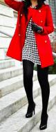 Black and white houndstooth with red jacket - My interpretation: http://looplooks.net/2013/09/23/black-white-boots/: Fashion, Style, Winter Outfit, Black Tights, Redcoat, Fall Winter, Red Coats, Houndstooth Dress
