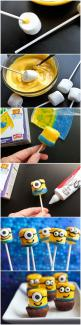 Despicable Me Mini Minions my kid are going to Love this idea! Ingredients 12 large marshmallows 2 cups yellow candy melts 3 blue Fruit-Rollups 1 tube Betty Crocker Black Icing, fitted with writers tip 24 small or large candy eyeballs also needed: sucker