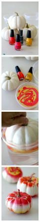 Marbling a Pumpkin, Easy Step by Step tutorial to this fun and unique No Carve pumpkin craft, great for glamming up the holidays with any left over nail polish: Creative Pumpkin, Easy Pumpkin Craft, Craft Pumpkin, Marbled Pumpkin, Pumpkin Carving Idea, Ha
