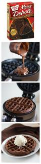 Brilliant!  For a summer birthday? No oven is a nice idea: Mix Waffles, Cake Mixes, Ice Cream, Chocolate Waffles, Waffle Iron, Cake Waffles