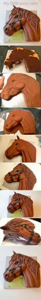 Horse cake-  I love this. I would make it white with lots of colors in the mane if I were doing this as a My Little Pony cake for a kid. :): Cake Horse, Girls Birthday Cake, Cake Tutorial, My Little Pony Cake, Horses Cake, Cakes Girl, Horse Birthday Cake,