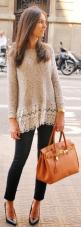 Dear Stylist - Not sure if I love the lace, but I like the shape, length, and color of the sweater - especially with the skinny pants. Classic heals like this is exactly what I would wear too.: Fashion, Fall Sweater, Style, Bag, Add Lace, Lace Sweater, Fa