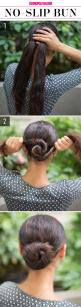NO SLIP BUN: Buns look polished and chic, but not when they're falling apart half-way through the day. Create a pretty and secure bun with these easy steps! Start by pulling hair back in two low ponytails tied close together. Twist the two tails in op