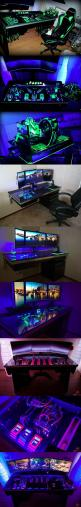 You can either buy a desktop computer, or have one built directly into a desk.: Computer Setup, Pc Against, Gaming Desk, Computer Mod, Gaming Computer, Pc Gaming Setup