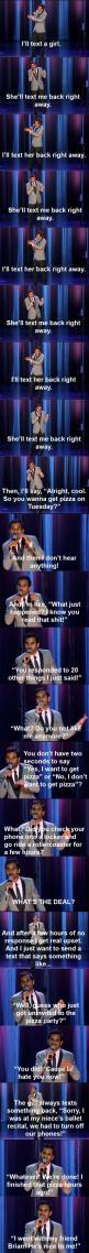 Aziz on texting girls: He S Nice, Giggle, My Life, Funny Stuff, So True, Aziz Ansari, So Funny, Pizza Party