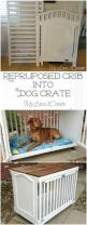 How clever is this repurposed crib turned into a dog crate from My Love 2 Create. #DIYspotlight: Dog Crate Bed, Diy Dog Crate, Dog Crates, Dog Crate Idea, Old Crib