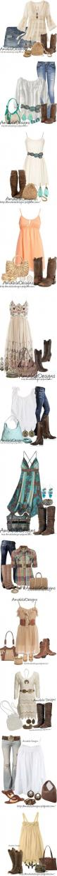 """""""Country Chic Look"""" by amabiledesigns on Polyvore. Seriously...who am I? I'm not girly at all, but I like this.: Cowgirl Boots Outfit, Summer Country Concert Outfit, Country Outfit, Country Girl, Cowgirl Outfit, Boho Chic Outfit, Cowgirl Boots"""