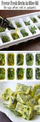 Freeze herbs while they are fresh - put chopped herbs into ice tray and add olive oil before freezing. Then put into freezer bags and label for later use.: Olive Oils, Freezing Food, Freeze Herbs, Fresh Herbs, Cooking Tips, Freeze Fresh