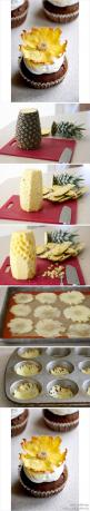 DIY! Pineapple flower. This is too gorgeous! >> Whoa, this is phenomenal! Must try this this weekend!: Creative Cake Idea, Recipe, Flower Cupcake, Food Decoration, Cup Cake, Pineapple Flowers, Creative Cupcake