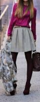 Street style. Burgundy, grey and pink. Unique Style Inspiration #UNIQUE_WOMENS_FASHION