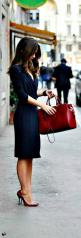 Stay fashionable and professional this fall with a simple wrap dress. We love the red accents added by the lips, shoes, and bag!: Wrap Dresses, Fashion, Street Style, Work Wear, Navy Dress, Navy Blue Dress, Work Outfit