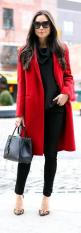 ♣ Classic Red Coat - black skinny jeans and michael kors cowlneck sweater with leopard schutz heels / With Love From Kat