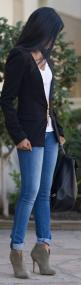 Collarless blazer, jeans, booties. Easier in theory than in practice.: Shoes, Casual Friday, Skinny Jeans, Fashionista, Dress, Street Style, Outfit, Fall Winter, Black Blazers