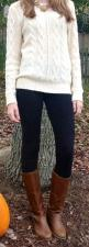 Outfit Posts: outfit post: cream cable knit sweater, black skinny jeans, brown riding boots: Cable Knit Sweaters, Style, Statement Necklace, Winter Outfit, Riding Boots, Fall Outfit, Fall Winter
