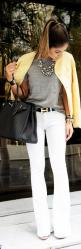 classy spring look #bright  http://www.studentrate.com/fashion/fashion.aspx: Fashion, Statement Necklace, Style, Outfit, White Pants, White Jeans, Hermes Belt