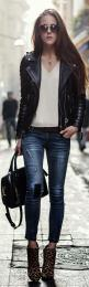 Fashion clothing: leather jacket: Fashion, Leather Denim, Street Style, Black Leather, Outfit, Street Styles, Jeans, Leather Jackets, Fall Winter