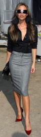 I should get a long sleeve black button down blouse to go with  my herringbone skirt.  Pop of color with the shoes.   BAM.: Fashion, Street Style, Victoria Beckham, Victoriabeckham, Pencil Skirts, Work Outfit, Black Blouse, Grey Pencil Skirt