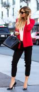 Casual Fashion Inspiration - Black pant with white blouse and red cute blazer and black leather hand bag and black high heels pumps: Fashion, Street Style, Workoutfit, Blazers, Work Outfits, Red Blazer, Business Casual