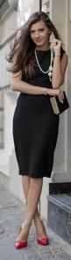Sleeveless Midi Lbd..I have a couple of dresses like this...great to layer with cardigans, jackets for fall: Black Dresses, Street Style, Black Dress Pearls, Work Outfit, Black Dress With Pearls, Black Dress And Red Shoes, Black Jackets, Black Dress Red S