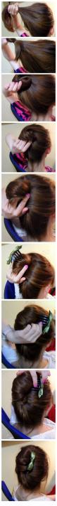 cheater french twist. pinner said: as someone who has a LOT of hair, this is possibly the most amazing thing I have ever tried and I will be doing it this way from now on! I still use bobby pins instead of the comb, but I no longer need 200!! - hopefully