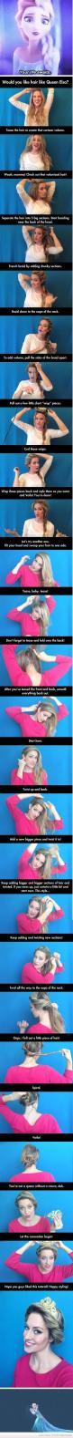 How To Style Your Hair Like Elsa From Frozen.  Adorable!!  Obviously I am obsessed with this movie lol: Hair Tutorials, Hair Styles, Long Hair, Elsa S Hair, Queen Elsa, Disney, Elsa Hairstyles, Elsa Braid