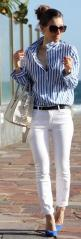 Summer (Business) Look - White Jeans and Blue Striped Blouson - great for every day! #fashion #summerstyle #mode: Fashion Style, Summer Style, Blue Striped Shirt Outfit, Blue Striped Shirts, Blue Stripes Shirt Outfit, White Jeans, Zara White, Blue And Whi