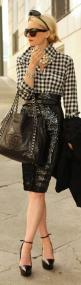 Black & white checkered blouse + oversized pearl necklace + black sequined pencil skirt + big sunglasses + large black leather Chanel satchel + platform pumps. This look is impossibly chic & modern!: Pencilskirt, Atlantic Pacific, Sequin Skirt, Fa
