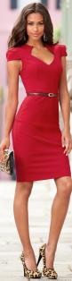 Dress up my work dresses with a skinny belt (instead of the wide belt I usually go to!) and switching out my black heels for animal print...: Women S, Leopard Print, Fashion Style, Red Dresses, Sheath Dress, The Dress, Animal Prints, Red Leopard, Red Hot