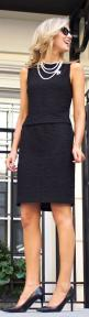 Street Style Fashion | Pretty woman, the kind I like to meet | Sexy chic blonde in elegant black dress enhanced by White Pearl Necklace | #Thejewelryhut: Fashion, Classy Cubicle, Classic Black Dress, Style, Work Outfit, Little Black Dresses, Lbd Pearls, B