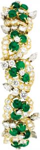 Diamond, Emerald, Gold Bracelet, French. The bracelet, designed with a floral motif, features oval and round-shaped emerald cabochons