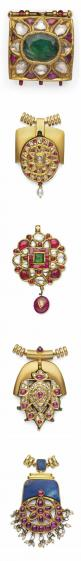 FIVE DIAMONDS AND GEM-SET PENDANTS   INDIA, 19TH/EARLY 20TH CENTURY   Four of circular form and one square, each with stylised floral decoration, inset with diamonds, foiled rubies and emeralds,the reverse decorated with enamelled floral sprays, each with