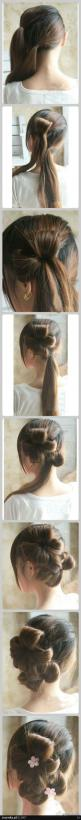 Braided Flower Hairstyle: Long Hair Style, Hairstyles, Low Ponytail, Hair Styles, Hair Tutorial, Hair Length, Flower Braids