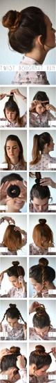 How To: Twist Donut Bun; this is a great (and one of my favorite) ways to spice up the average bun for those bad hair days: Doughnut Bun, Hairstyles, Hair Styles, Good Donut, Hair Bun, Makeup, Sock Bun, Twist Doughnut, Braided Bun